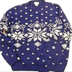 J Crew Men's Large Snowflake Sweater Wool Pullover